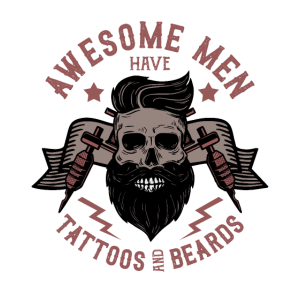 Awesome men have tattoos and beards