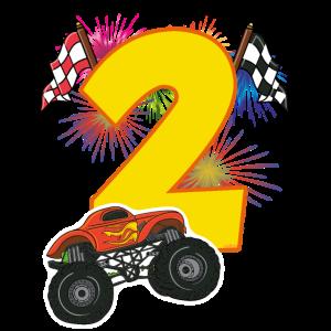 Geburtstag 2 Jahre Monster Truck, Auto T-Shirt