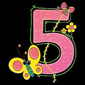 Geburtstag 5 Jahre Schmetterling T-Shirt Fünf