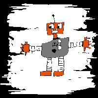 Lustige Kinderzeichnung eines Roboters