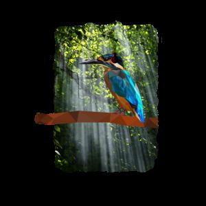 Low Poly Eisvogel im Wald mit Kopfhoerer
