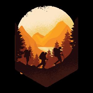 Wander Illustration - Sonne beim Bergsteigen