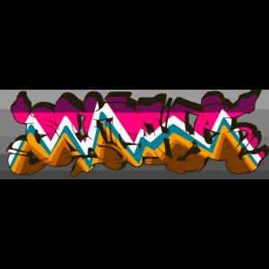 cliché graffiti backprint