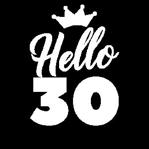 Hello 30 Jahre Krone 30. Geburtstag Frau Geschenk