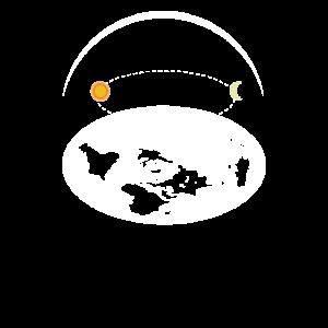 Flat Earth Shirt Society Flache Erde Karte Scheibe