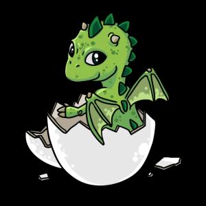 Kleiner süßer Baby Drachen schlüpft aus den Ei