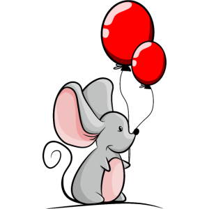 Maus mit roten Luftballons