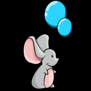 Maus mit blauen Luftballons