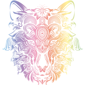 wolf mandala kopf tier kunst bunt