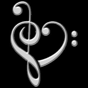 Musik Note Herz, Bass, Notenschlüssel, Chor, Band