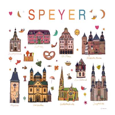 SPEYER - Speyer Sehenswürdigkeiten Kunstdruck - zum Halbmond,Speyer,Kaiserdom,Gedächtniskirche,Altpörtl