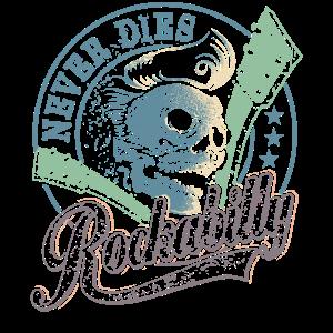 Rockabilly T-Shirt Skull Guitar - gift for