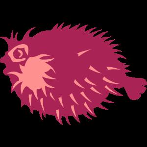 exotische Meeresgesichtskarikatur der Fische Igel