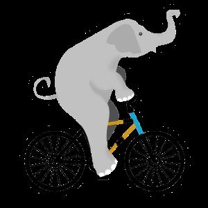 Elefant fährt auf seinem Fahrrad