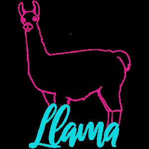 Neon Lama Retro Geschenk