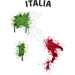 Italia Flag Graffiti Text Map