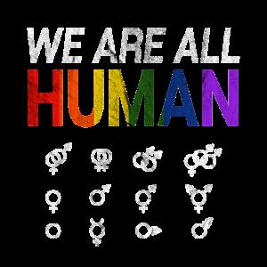We Are All Human Symbol Shirt Geschenk
