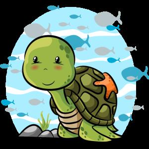 Wasserschildkröte mit Fischen