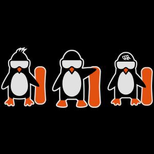 Pinguin mit Snowboard