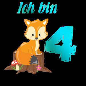 4 Geburtstag Jungen Ich bin 4 Fuchs