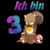 3 Geburtstag Ich bin 3 Niedliches Eichhörnchen