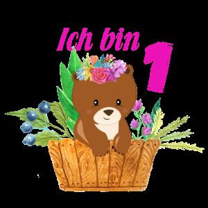 1 Geburtstag ich bin 1 Süsser Bär Mädchen