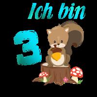 3 Geburtstag Ich bin 3 Niedliches Eichhörnchen M