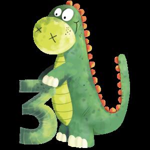 3 Jahre Dinosaurier I Dino Drache 3. Geburtstag