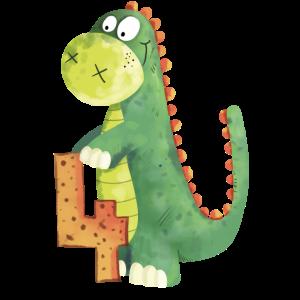 Dino Mit Zahl 4 I Vierter Geburtstag Dinosaurier