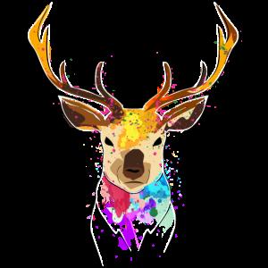 Handgezeichnetes Reh mit bunten Farbklecksen