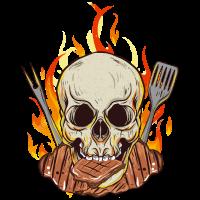 Grillen BBQ Fleisch Feuer Flammen Skull Schädel