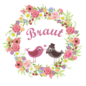 Braut - Blumenranke. Vogelpaar. JGA Hochzeit
