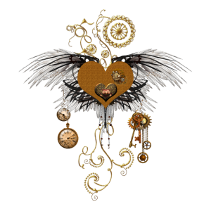 Atemberaubendes Steampunk-Herz mit Flügeln.