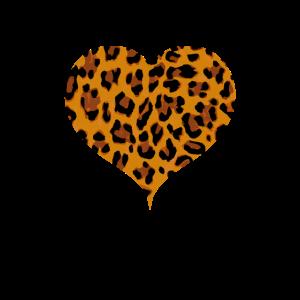 Gepard Leo Print Shirt Herz Heart Herzen Herzchen