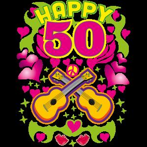 16 HAPPY 50 Geburtstag Gitarren Peace Popkultur