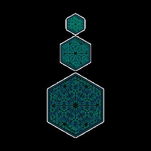 Goa Shirt Om Wabenmuster Mandala Heilige Geometrie