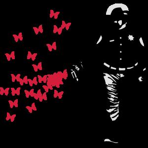 Polizei - Streetart Pepper Spray Cop Butterfly