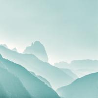 Minimalistische Zen Berge Pastell