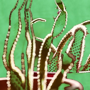 Abstract cactus watercolor nature