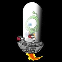 Alien hat Spass im Ufo Geschenkidee