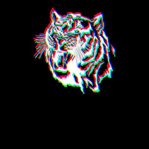 Tiger Glitch Effect T Shirt