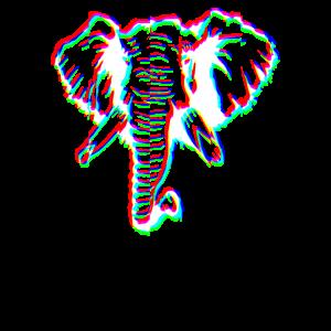 Elefant Glitch Effect T-Shirt