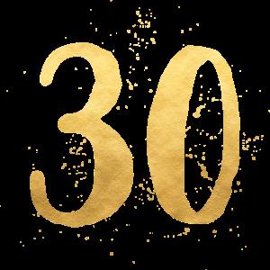 30 gold runder Geburtstag dreißig Geschenk Zahl