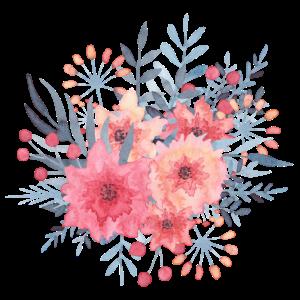 Rosa Blumenstrauß - Rose blüht Aquarell