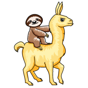Faultier Reitet Auf Lama Alpaca Kostüm T-Shirt