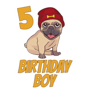 5 Geburtstag Fünfter 5. Bub Junge Mops Geschenk