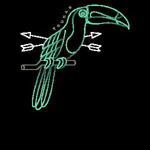 Kühle dünne Linie Toucan Zeichnung