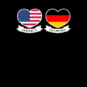Deutscher amerikanischer Stolz US-Flaggen-Herz-Geschenk