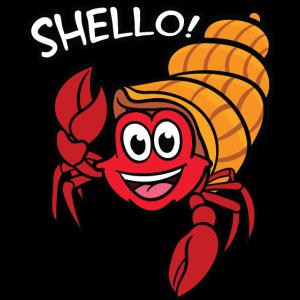 Eine Krabbe mit einer Muschel