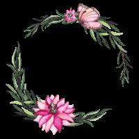 Floral mit Schmetterlingsrosakranz
